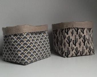 Storage basket / pot cover/ reversible square pocket linen and cotton