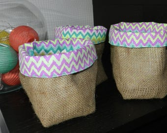 Storage basket / planter / tray in natural burlap colored