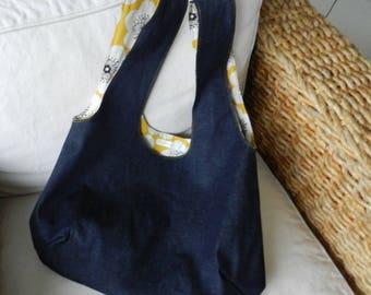 Reversible denim and mustard yellow floral fabric tote bag