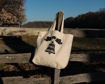 Running tote, running bag, Run PA, Pennsylvania, natural cotton canvas, liberty bell, See Holly Run Designs, running gifts