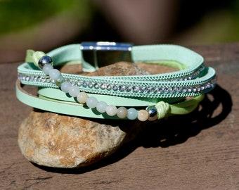 8f051ae4f63 Peridot Green Agate Leather Wrap Bracelet Magnetic Clasp , Cuff
