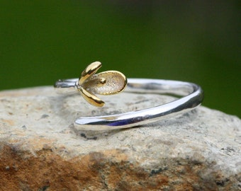 36517a987 Snowdrop Flower Ring Sterling Silver 925 and Gold , Spring , Simple Band ,  Adjustable Size 4 up
