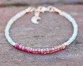 Aquamarine Ruby Bracelet 14k Rose Gold Filled , July March Birthstones