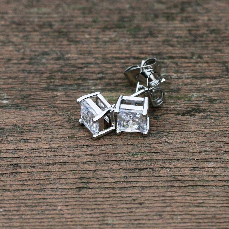 Diamond Look Princess Cut Cubic Zirconia Stud Earrings April Birthstone Platinum Plated