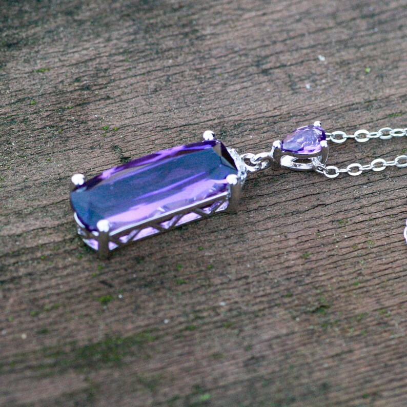 Wedding Bridal 6th Anniversary February Birthstone Emerald Cut Created Amethyst Pendant Sterling Silver 925