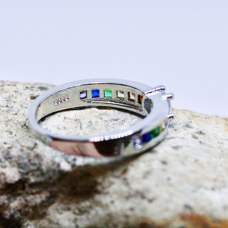 Rainbow Engagement Ring Sterling Silver 925 Pride Ring