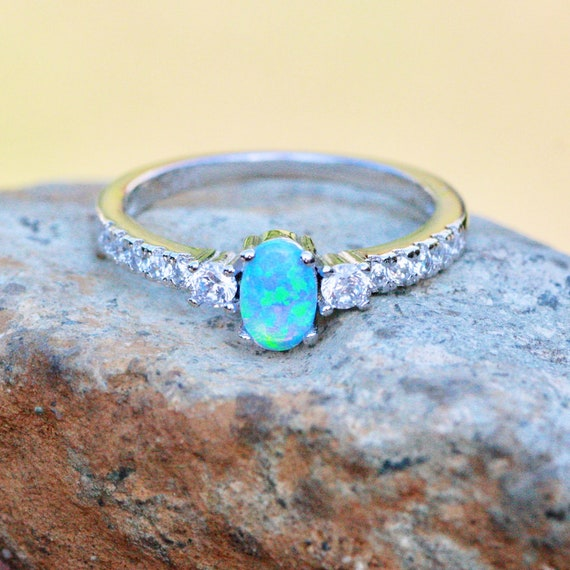 4mm Eternity Wedding Engagement Band Ring 925 Sterling Silver Lab Blue Turquoise