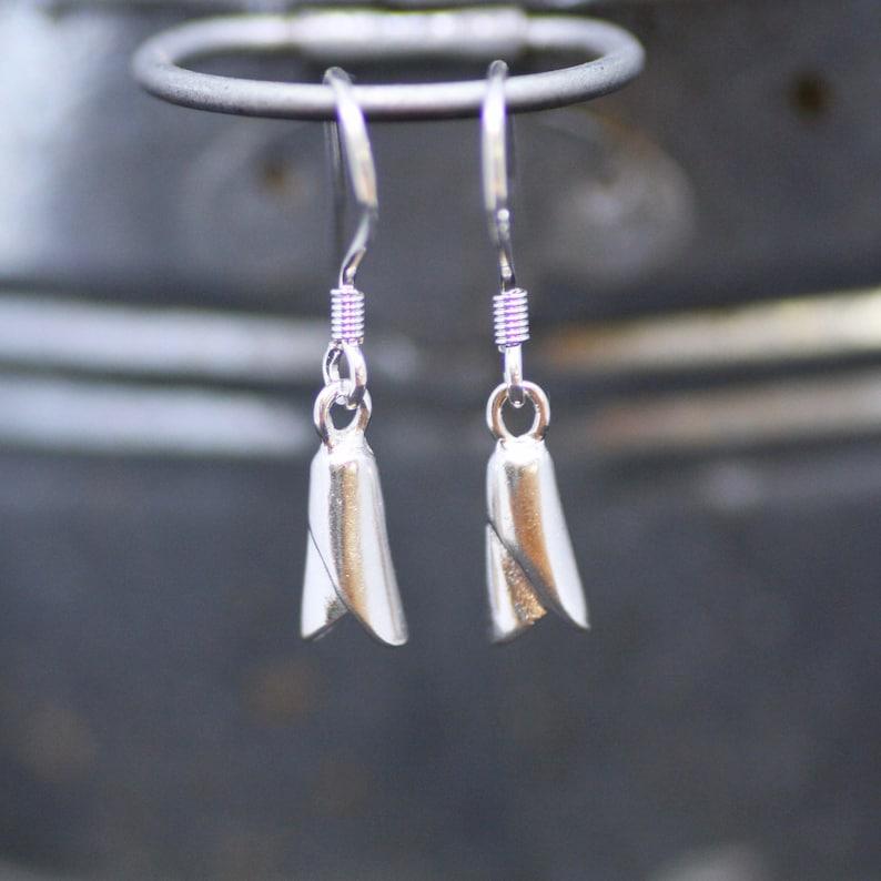 Two tone Long earrings Delicate Snowdrop Flower Earrings Sterling Silver 925