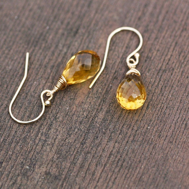 Citrine Earrings Solid 14k Gold Wire Wrapped Briolette November Birthstone
