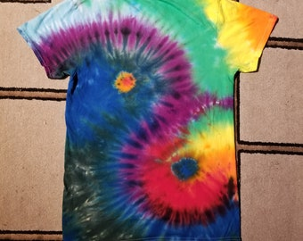 Small Rainbow Yin Yang Tie Dye Shirt