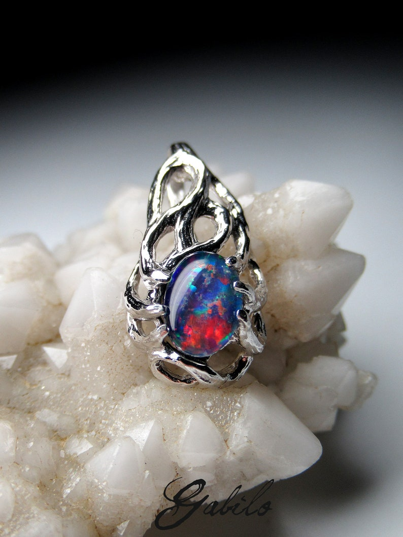 Opal Sterling Silver Pendant Colorfull Triplet of Natiral Australian Black  Opal Red Blue Gemstone High Quality Fine Jewellery 3982