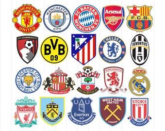 INSTANT DOWNLOAD - Europe Football Soccer Logos Svg Bundle, Football Club Soccer Team, European Football Team Clipart, European Football