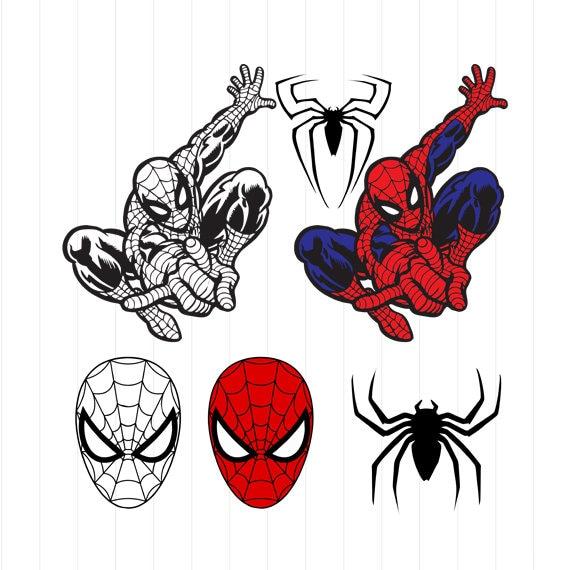 instant download spiderman svg spiderman clipart superhero etsy