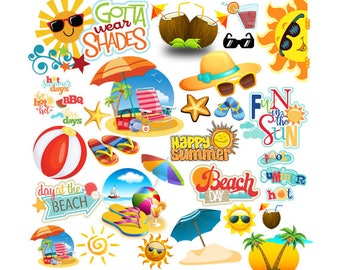 INSTANT DOWNLOAD - Summer Party, Beach Party Pop Art Text, Beach Party Clipart, Summer Party Theme, Summer Clipart,Summer Party Idea,Clipart