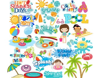 INSTANT DOWNLOAD - Pool Party, Pool Party Pop Art Text, Pool Party Clipart, Pool Party Theme, Summer Clipart, Pool Party Idea, Clipart