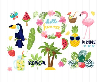 INSTANT DOWNLOAD - Tropical Clipart, Tropical Svg, Flamingo, Pineapple, Tropical, Summer, Flower Clipart, Tropical Summer, Beach, Flower