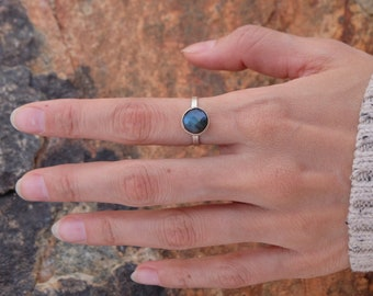 Round Rose Cut Blue Labradorite Ring