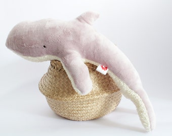 Whale Cuddly Toy Tiny Tom ROSE - Little Whale Organic Cuddly Toy, Whale Stuffed Animal, Plush Toy, Girls Nursery, Handmade Girl Baby Gift