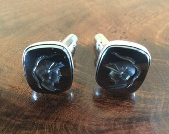 Silver 925 cuff links with roman soldier decoration