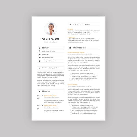 Resume Template Professional Resume Modern Resume Design Cv Template For Ms Word Teacher Resume Word Resume Instant Download Rm6