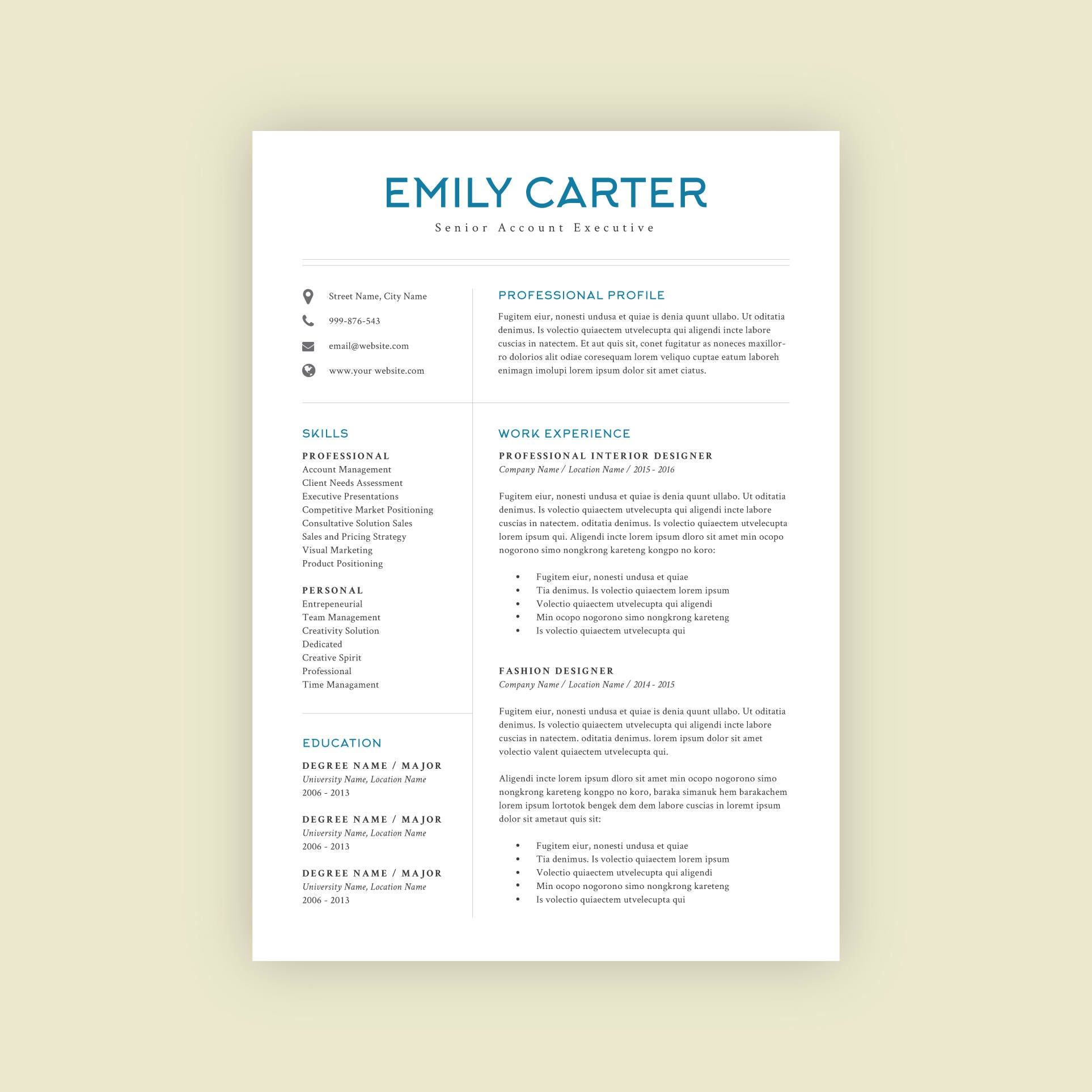 Resume Template Professional Resume Modern Resume Design