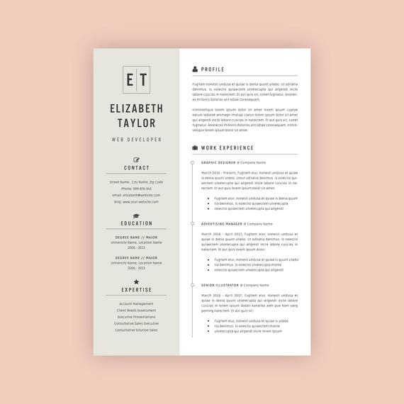 Resume Template Professional Resume Modern Resume Design Cv Template For Ms Word Teacher Resume Word Resume Instant Download Rm10