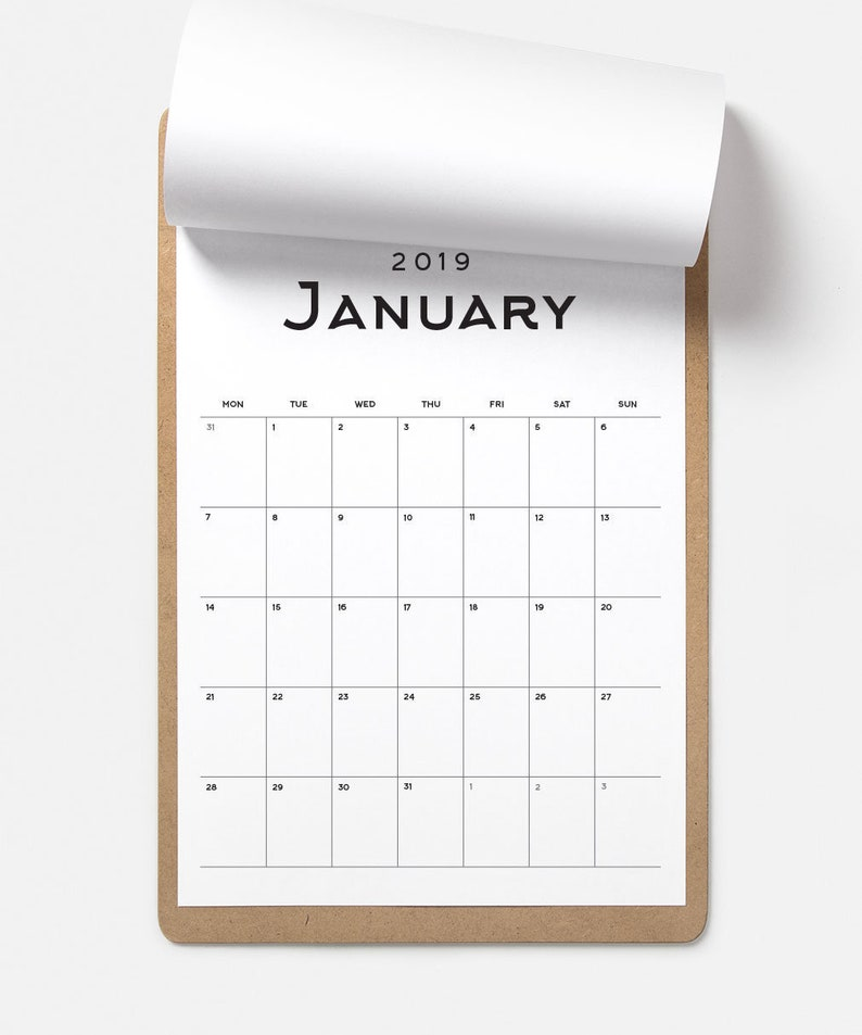 2019 Yearly Calendar 2019 Big Calendar A3 Calendar Etsy