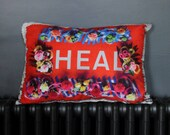 HEAL flower border red Medium Sumptuous Cushion Metallic Gold