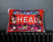 HEAL flower border red Medium Sumptuous Cushion Black Velvet