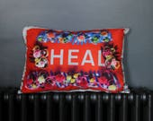 HEAL flower border red Small Sumptuous Cushion Black Velvet