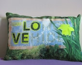 LOVE Lemon Daffodil Lace  Small Authentic Cushion with green linen back