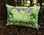 HEAL flower border Lime Medium Authentic Cushion with Pink Satin Back