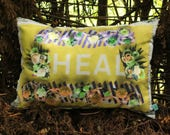 HEAL flower border yellow gold Medium Authentic Cushion