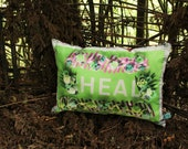 HEAL flower border Lime Giant Sumptuous Cushion with Iridescent Purple Shine