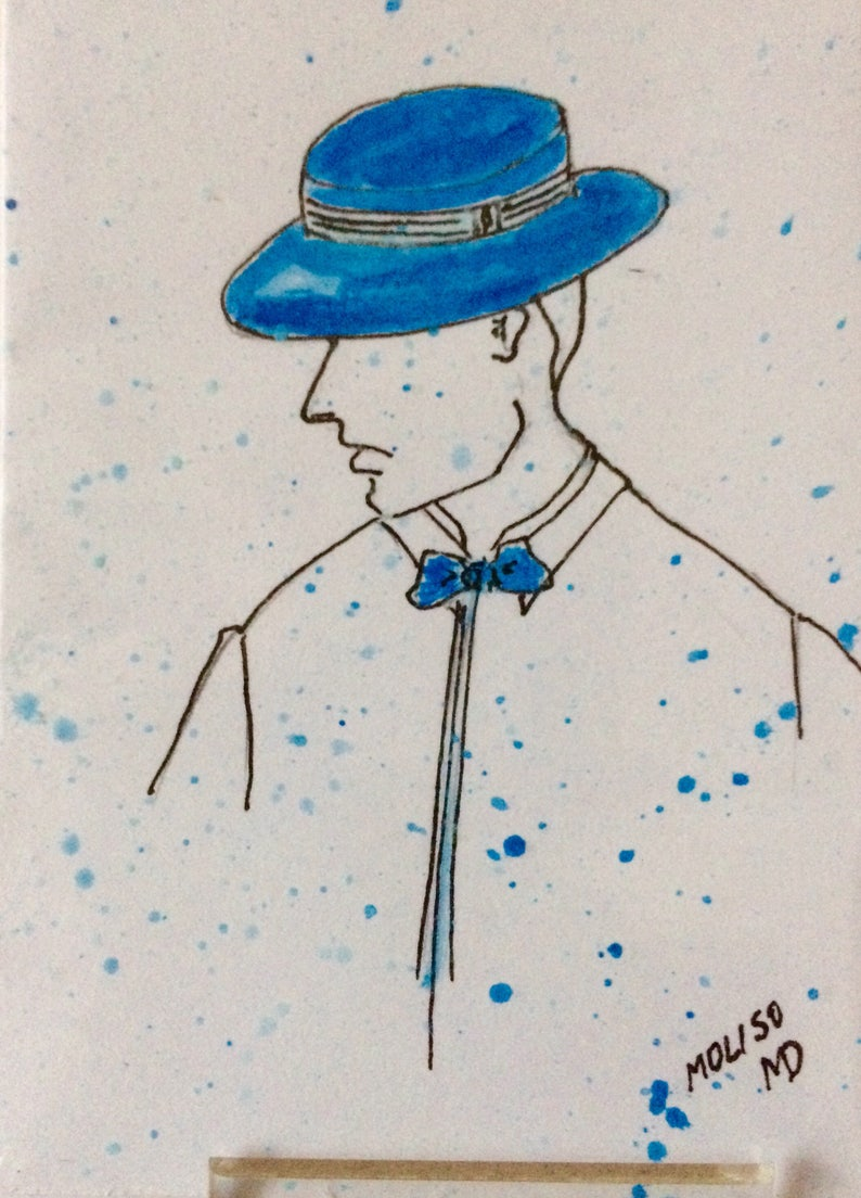 Original Watercolour Miniature Painting,NOT Print Artist Trading Card. History of Men/'s Hats Fashion,New Collectors Series ACEO