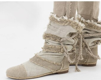 Knit boots, Urban clothing,Linen boots , Hipster shoes, Unique ankle boots, Designer new wave booties, Hip hop shoes