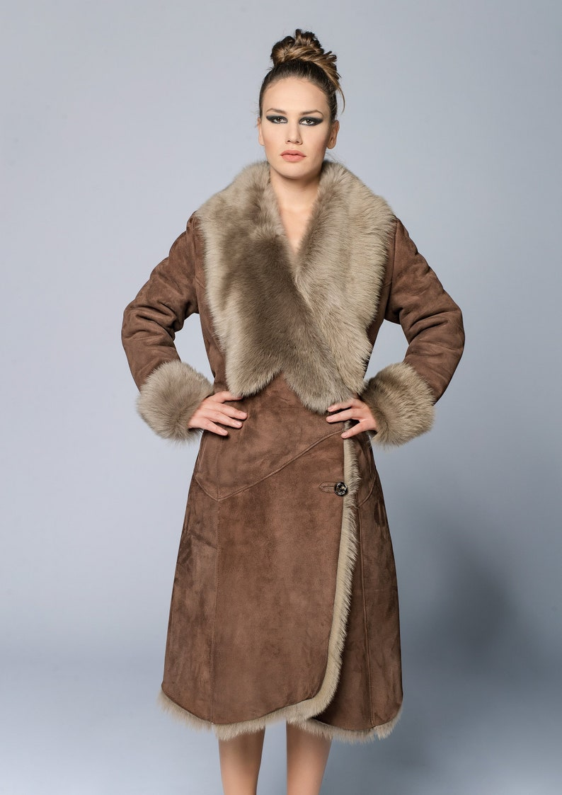 e2f1b2300 Brown fur coat woman woman sheepskin coat fur coat leather   Etsy