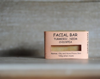 TURMERIC NEEM CHICKPEA - Facial Cleanser, Facial Bar, Ayurveda Soap, Ayurvedic Bar, Exfoliating Soap, Turmeric Soap, Acne Soap