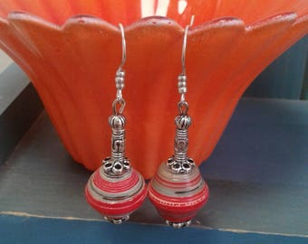 Red Paper Beaded Earrings