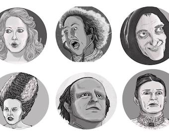 Young Frankenstein Cartoon Button Set
