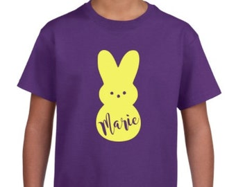 YOUTH or TODDLER Marshmallow Bunny Easter Candy Shirt with Personalized Name Customized -Crew Neck Shirt - Multiple Sizes & Colors Available