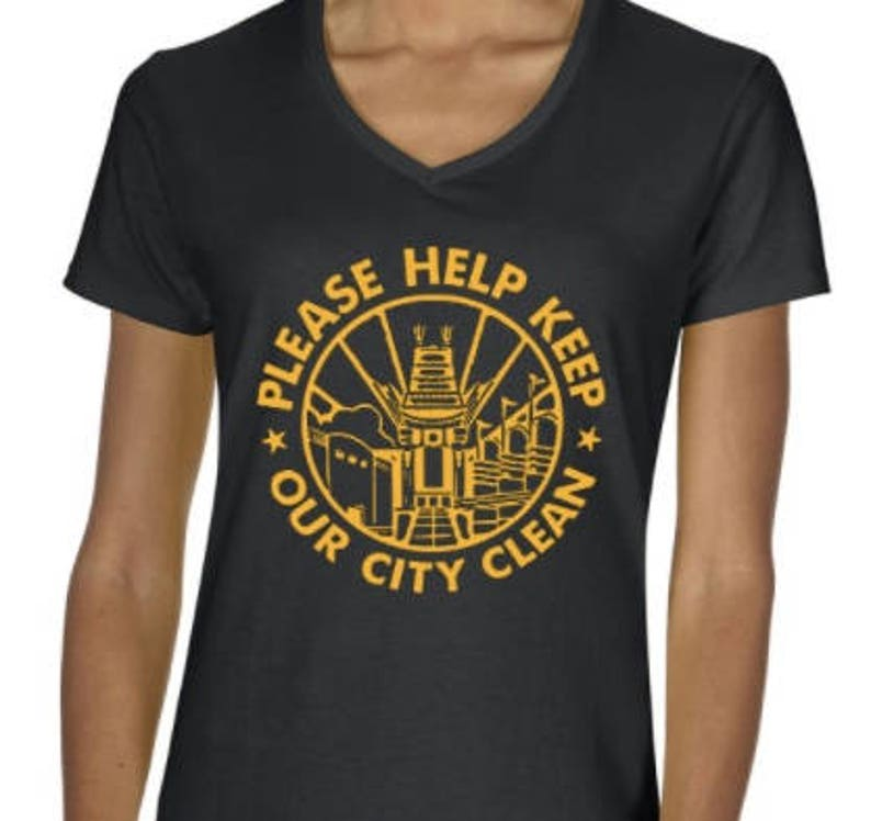 LADIES CUT Please Help Keep Our City Clean Disney World MGM Hollywood  Studios Inspired VNeck T-shirt - Multiple Size Color Options Available