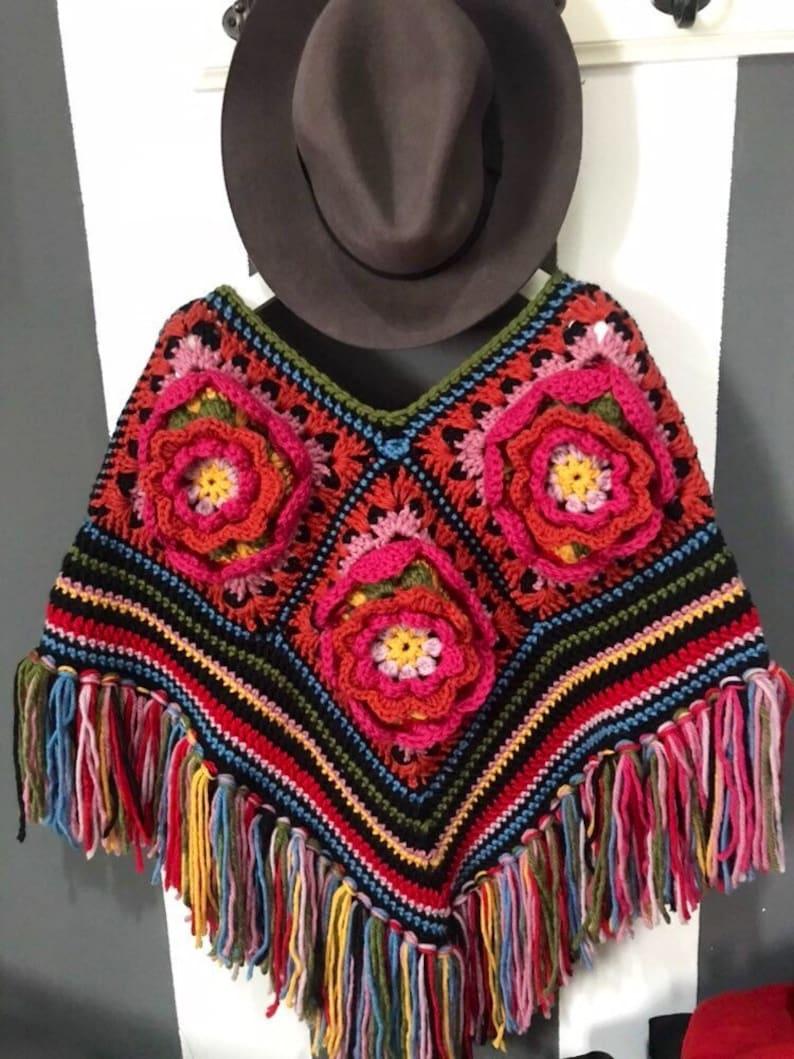 Crochet  Flowers Poncho  crochet wool ponchoPretty Crocheted image 1