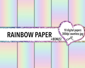 Rainbow Digital Papers + Bonus Pattern File, Seamless, Textures, Backgrounds, Clipart, Scrapbooking, Personal and Commercial Use