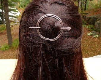 circle hair clip, minimalist hair accessories, geometric hair clip jewellery, round hair accessories for women, hair jewelry copper hair pin