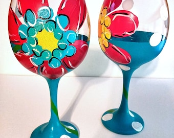 Vibrant Floral Hand Painted Red Wine Glasses