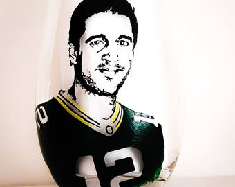 Aaron Rodgers Hand Painted wine glass/tumbler/candle holder