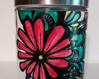 Vibrant Floral Glass Jar