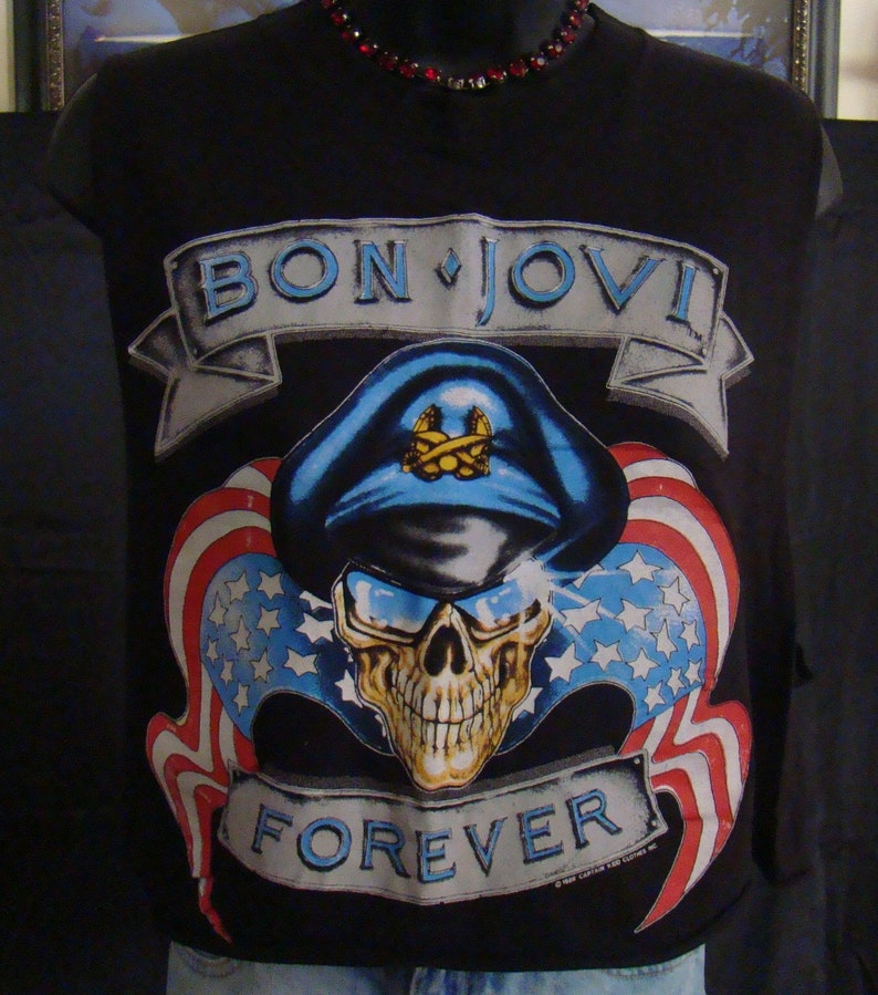 Bon Jovi Concert Shirt Vintage Glam Rock 80s Rock Band 80s Hair Band -  Vintage Concert T Shirts - 1989 New Jersey Vintage Concert Shirt 80s