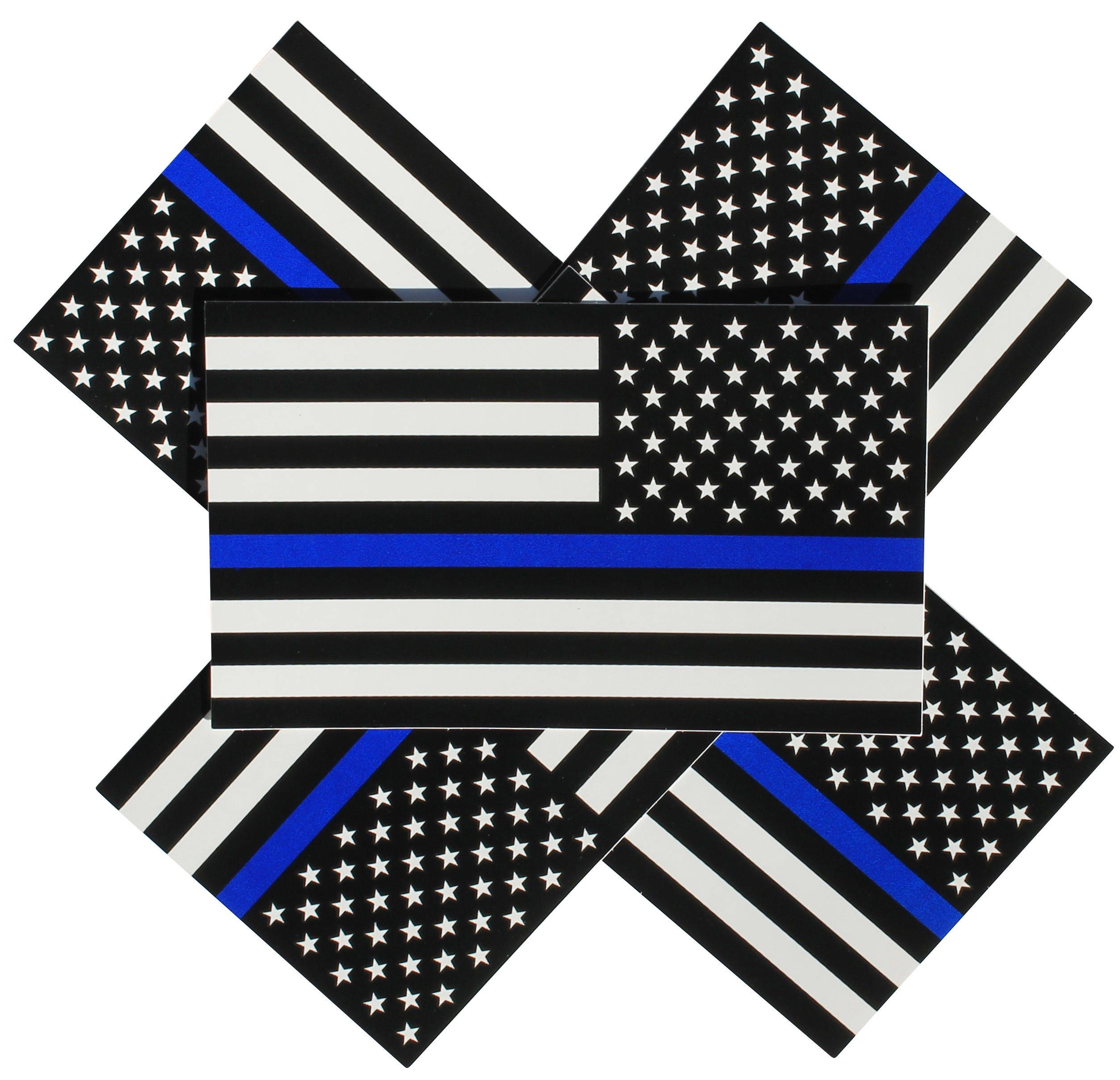 50 American Flag Full Color Thin Blue Line Decal Bumper Stickers Police 3X5 Inch